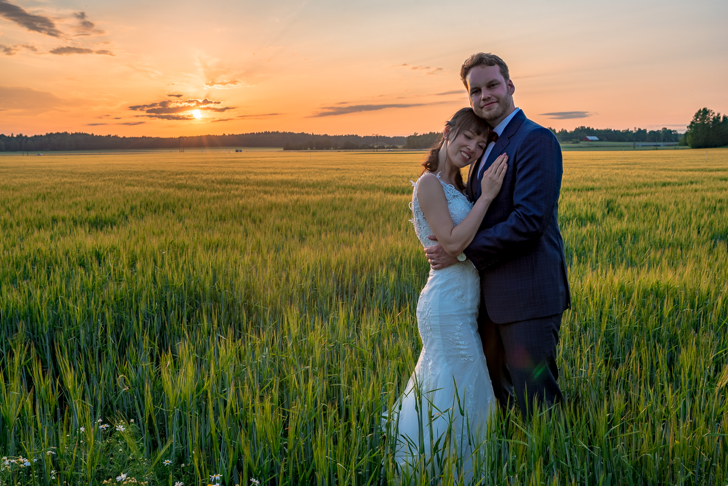 Wedding sunset photo session in the endless fields