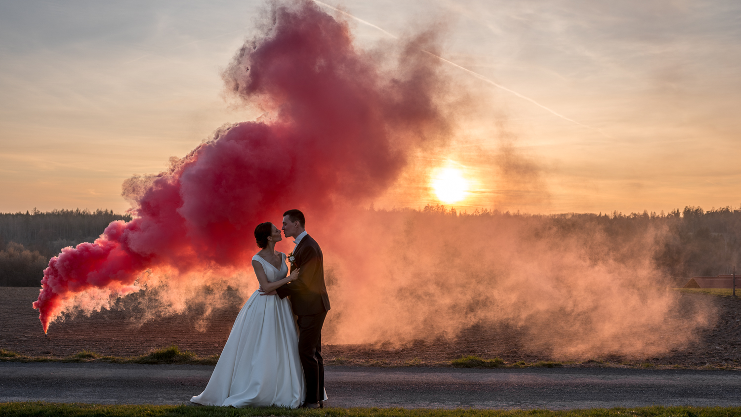 Wedding smoke effects in the countryside near Stockholm