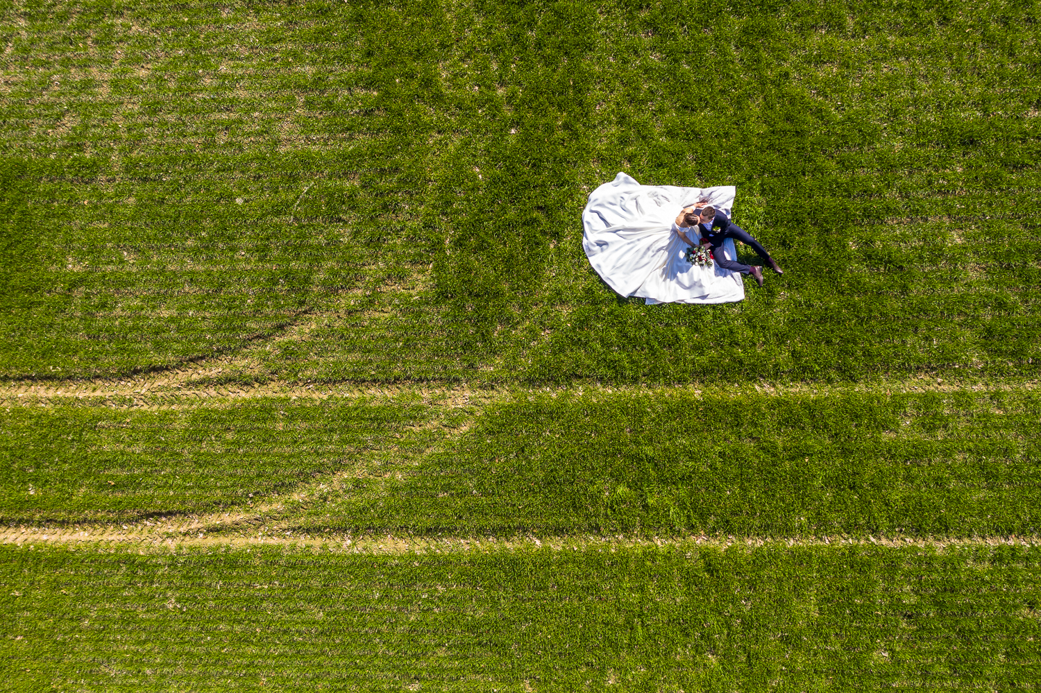 Wedding drone photography in the fields